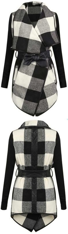 $43.99 Only with free shipping, easy return&more holiday surprises! Black and white, eternal popular classic. This plaid lapel coat is characterized by sash&knitting sleeve! So chic&flattery at Cupshe.com