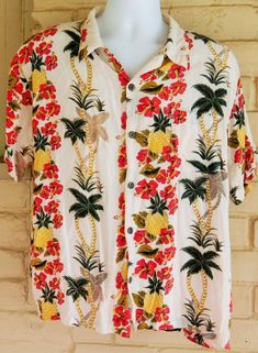Men's Ocean Current Vintage Hawaiian Shirt Short Sleeve Pineapples & Hibiscus L #OceanCurrentVintage #ButtonFront