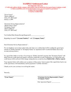 Creditor Settlement Offer The purpose of this credit repair letter