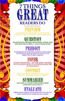 "Free!! 7 Things Great Readers Do Poster....Follow for Free ""too-neat-not-to-keep"" teaching tools & other fun stuff :)"
