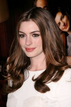 Anne Hathaway - I love her hair color because of its contrast with her skin. Too dark?