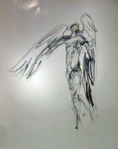 "Skot Foreman Gallery Chrissy Dolan Terrasi ""Icarus III""  1992 Drawing Oil Pastel on Paper    26 x 21 in  66 x 53 cm"