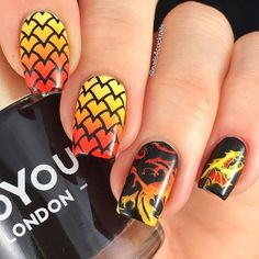 Loving the finished look! The queen of dragons will be very proud! Check these awesome nails by @nails4cocktails from Instagram! She used our dragon-inspired, MM21 stamping plate to achieve this look! __________________________________________________ Tutorial for my fire breathing dragon nails 🔥🐉 #dragon #dragonnails #gradient #gradientstamping For this mani I used: 🔥 @myblisskiss Simply Neat Miracle Mat. 🔥 @bundlemonster Poli-peel. 🔥 @esmaltesdakelly Joana, Tris, Bee. 🔥 @moyou_london…