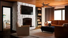 Love the Cabincore aesthetic? Try on the look in your home! Here are 5 ways to give your home a cabin-inspired look. Mountain Cottage, Modern Mountain Home, Living Room With Fireplace, Living Rooms, A Frame Cabin, Ship Lap Walls, Industrial Style, 5 Ways, House Design