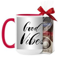 Drew Barrymore Good Vibes Mug, Red, with Ghirardelli Premium Hot Cocoa, 15 oz, White