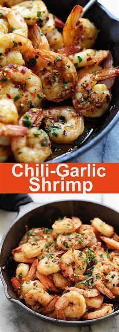 Chili Garlic Shrimp (Gambas Al Ajillo) - the best shrimp appetizer recipe you'll make. This Spanish chili garlic shrimp recipe is the bomb! Shrimp Appetizers, Shrimp Dishes, Fish Dishes, Appetizer Recipes, Spanish Appetizers, Dinner Recipes, Chili Garlic Shrimp Recipe, Shrimp Recipes, Fish Recipes