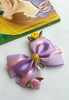 Your place to buy and sell all things handmade Ribbon Hair Clips, Hair Ribbons, Ribbon Bows, Grosgrain Ribbon, Princess Hair Bows, Girl Hair Bows, Disney Princess, Pink Princess, Baby Bows