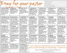 FREE Pray for your Pastor Calendar: Simply go to the day of the month and pray through the topic and scripture,allowing the Spirit to lead your prayers. Gifts For Pastors, Pastors Wife, Prayer Scriptures, Bible Prayers, Powerful Scriptures, Pastor Appreciation Month, Appreciation Quotes, Pastor Anniversary, Prayer Ministry