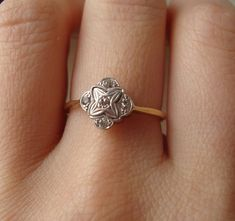 Art Deco Floral Diamond Engagement Ring Vintage by luxedeluxe, $598.00