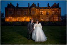 Night portrait of bride and groom at Gisborough Hall in Teesside. www.martinkerphotography.com