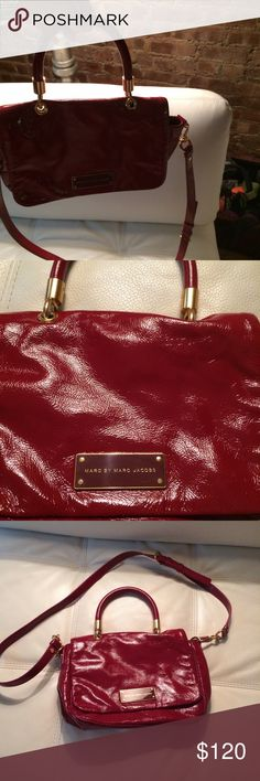 Burgundy patent leather cross body purse Burgundy Marc Jacobs patent leather burgundy/ Red Cross body purse Marc Jacobs Bags Crossbody Bags