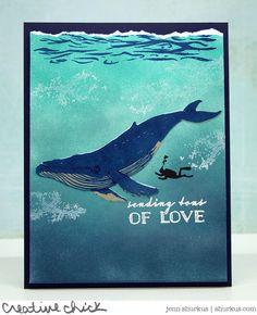 Handmade Card Making, Handmade Birthday Cards, Handmade Cards, Hero Crafts, Hero Arts Cards, Nautical Cards, Beach Cards, Whale Art, Unique Cards