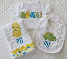 Baby GiFT set Personalized BuRP CLoTH BiB and Onesie in a DiNoSauR Theme