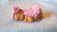 fondant baby girl fondant baby cupcake topper by SWEETBABYLAND, $13.00