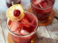 Think of this as an extra spunky cherry coke. Old-school Cheerwine, maraschino cherries, Southern-made bourbon, cherry bitters, and a dash of lemon Bourbon Cocktails, Fall Cocktails, Cocktail Recipes, Dinner Recipes, Fall Drinks, Party Drinks, Mixed Drinks, Thanksgiving Cocktails, Thanksgiving Sides