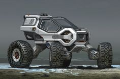 futuristic Jeep, lightweight  military vehicle car concept with huge tyres, pick up design illustration, Concept art transportation design render inspiration ideas, by professional concept artist Danny Gardner available freelance