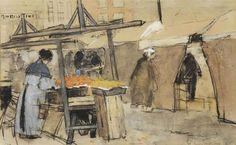 Floris Arntzenius (1864-1925) - A market scene, The Hague