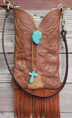 Tan Prairie Leather Nocona Boot Top Clutch Handbag by tcra466, $80.00