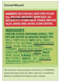 Label reading – how to spot the FODMAPs. Link: http://fodmapmonash.blogspot.com.au/2015/09/label-reading.html
