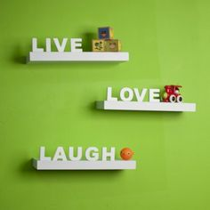Danya B Decorative Live Love Laugh White Wall Shelves Set of 3 * Want additional info? Click on the image. #WoodHomeDecor