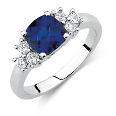 Created Blue & Created White Sapphire Ring