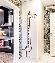 Theme Decal TM15560cm Handprinting Giraffe Kids Room Height Measuring Wall Stickers Nursery School Removable Home Waterproof PVC Art Decoration Mural Wall Stickers Home Decor Restaurant Bedroom Sitting Room Wedding Room Sofa Tv Background Vinyl DIY Art Decals -- Check out this great product.