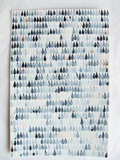 Raindrop-stamped fabric sheet.