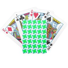 Green and Blue Fractal shape art design Bicycle Playing Cards