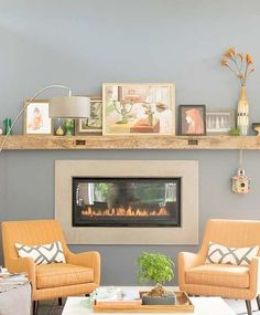 Flat fireplace doesn't take up too much room?