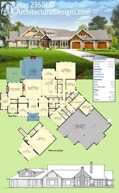 Introducing Architectural Designs House Plan This home has an angled tandem garage decorative timber trusses and a vaulted covered entry and a dynamic floor plan. A bonus room with loft and full bath gives you great expansion possibilities Ranch House Plans, Dream House Plans, House Floor Plans, My Dream Home, The Plan, How To Plan, Architectural Design House Plans, Architecture Design, Casa Stark