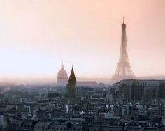 Pastel Paris Print- Eiffel Tower at Dusk- Wall Decor- Peach Pink- Romantic Spring fog over gray rooftops