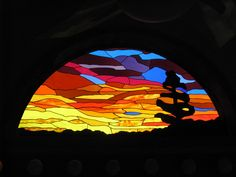 Stained glass Bathroom Arch - Sunset or Sunrise