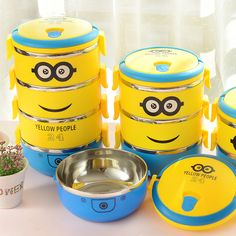 Cartoon Cute Minion Lunch Box Container Portable Stainless Steel Food Container Bento Box For Kids