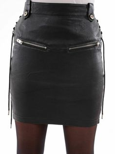 Womens Leather Skirt, Black Leather Mini Skirt, Leather And Lace, Real Leather, Cone Bra, Lambskin Leather, Clubwear, Stylish, How To Wear