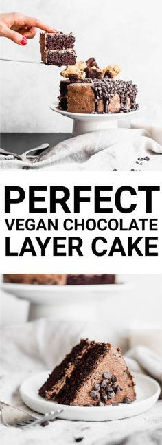 Perfect Decadent Vegan Chocolate Layer Cake: One of the best cakes I\'ve ever had! This is a really simple vegan layer cake that is outrageously chocolatey, perfectly moist, and highly addictive.    fooduzzi.com recipe #cake #chocolatecake #vegancake #vegan
