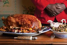 Christmas Goose with Stuffing by Saveur. This recipe for roast goose comes from executive chef Brian Alberg of the Red Lion Inn in Stockbridge, Massachusetts. Holiday Roast Recipe, Holiday Recipes, Dinner Recipes, Christmas Recipes, Christmas Ideas, Christmas Roast, Christmas Dinners, Dinner Entrees, Christmas Appetizers