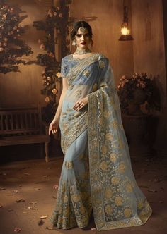 b023523ed9b Grey Embroidered Net Saree With Blouse