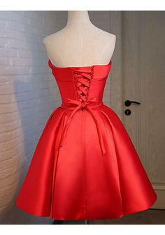 Red Strapless Knot Knee Length Homecoming Dresses(ED1242)