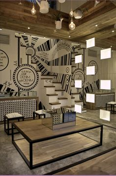 love the details of this store: the lights, the stairs.. nice :)