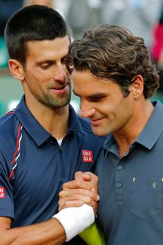 Serbia's Novak Djokovic, left, and Switzerland's Roger Federer meet at the net after their semifinal match in the French Open tennis tournament at the Roland Garros stadium in Paris, Friday, June Djokovic won (AP Photo/Michel Euler) Tennis Shop, Sport Tennis, Play Tennis, Roger Federer, Famous Sports, Tennis World, Tennis Stars, Rafael Nadal, Sports Stars