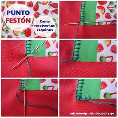 Punto Festón: Como resolver las esquinas.   Aprender manualidades es facilisimo.com Patch Aplique, Sewing Art, Felt Dolls, Felt Ornaments, Felt Crafts, Flannel, Elsa, Patches, Gift Wrapping