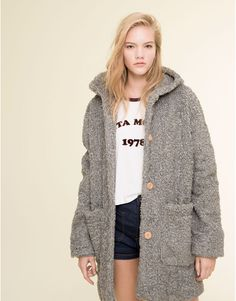 FLEECY COAT WITH HOOD NEW PRODUCTS - WOMAN PULL&BEAR Denmark