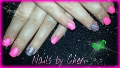 Neon pink with glitter accent nail on acrylic by Cheri
