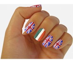 This is one direction nails see 4 guys are British and one is Irish omg love these nails