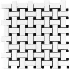 Bathroom floor and shower floor  Basketweave Black Dot Porcelain Gloss Mosaic Wall Floor Tile