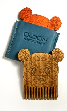 Wooden comb in a leather case Beard comb Panda comb Wood