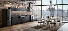Cucine Moderne Grigie: 22 Modelli delle Migliori Marche | MondoDesign.it Industrial Home Design, Industrial House, Industrial Style, Loft Interior Design, Interior Architecture, Casa Loft, Brutalist, Apartment Interior, Decoration