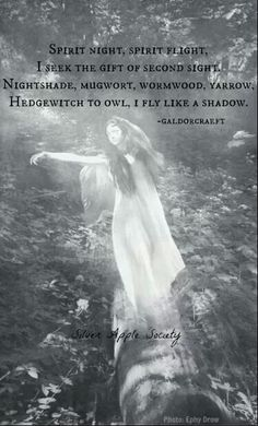 Spirit night, spirit flight, i seek the gift of second sight. Nightshade, Mugwort, Wormwood, Yarrow, Hedgewitch to owl I fly like a shadow. #witchcraft