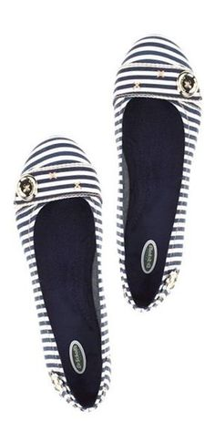 Striped canvas ballet flats with embellishment from Dr. Scholls (yes, really!)