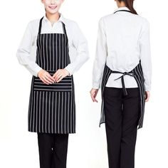 Plain Stripe Kitchen Apron with Front Pocket Chefs Butchers Apron for – UrbanLifeShop